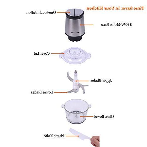 Electric Chopper, 8-Cup Food Homeleader, 2L Glass Bowl Blender Vegetables, 4 Sharp Blades