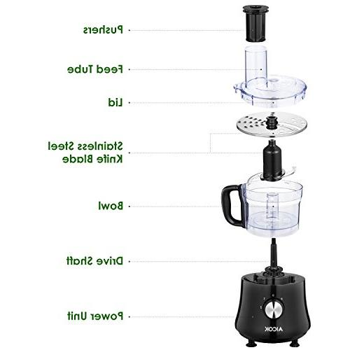 Aicok 8-Cup Meat 2-Speed 500W, Exact System, Safety Interlocking Black