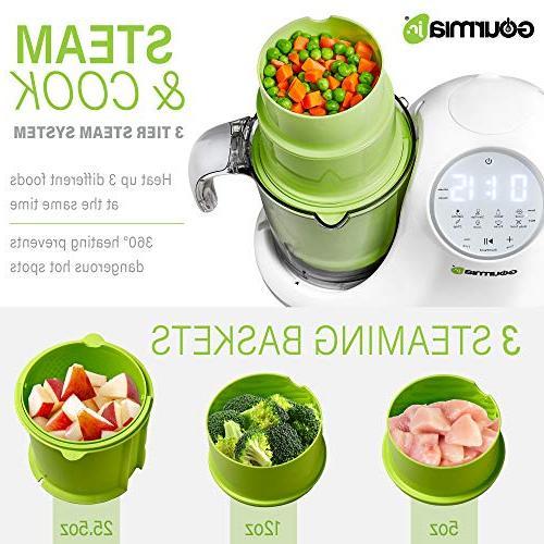 Gourmia Jr. Food Processor, 3 Steaming,3 Blending Modes, Touch ETL-Certified