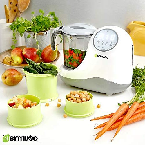 Gourmia Jr. 5-in-1 Food Processor, Steaming,3 Blending Modes, Large Touch