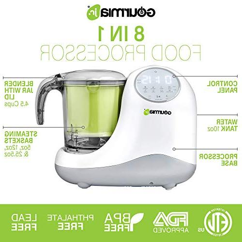 Gourmia Baby Food Processor, 3 Steaming,3 Blending Modes, Touch JFP300,