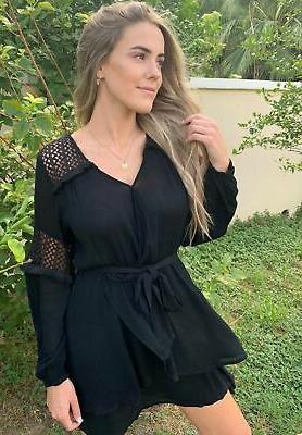 little black dress with lace detail surplice