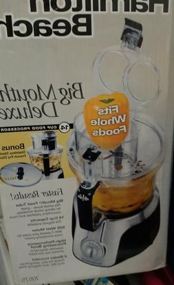 NEW HAMILTON BEACH Deluxe Big Mouth 14 Cup Food Processor Bo