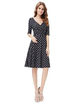 Alisa Pan US Short Dresses Cocktail Dress V Neck Polka Dot B