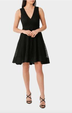 WAYNE COOPER V Neck Fit Flare High Low Lace Dress Black UK 1